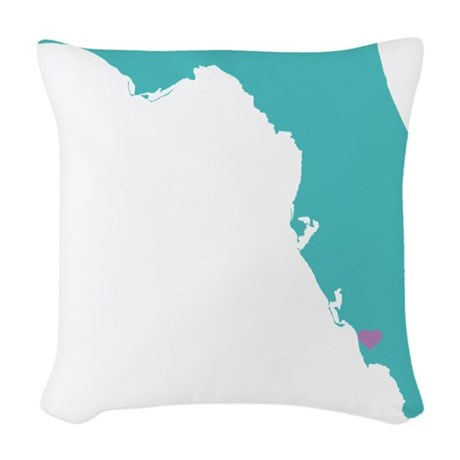 Naples Florida State with hear Woven Throw Pillow by listing-store-127575064
