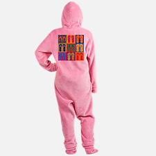 Pop Art Flip Flops Footed Pajamas
