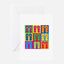 Pop Art Flip Flops Greeting Cards