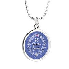 25th anniversary wreath Silver Round Necklace