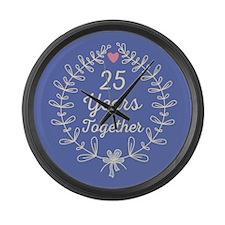 25th anniversary wreath Large Wall Clock