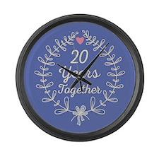 25th Wedding Anniversary Large Wall Clock