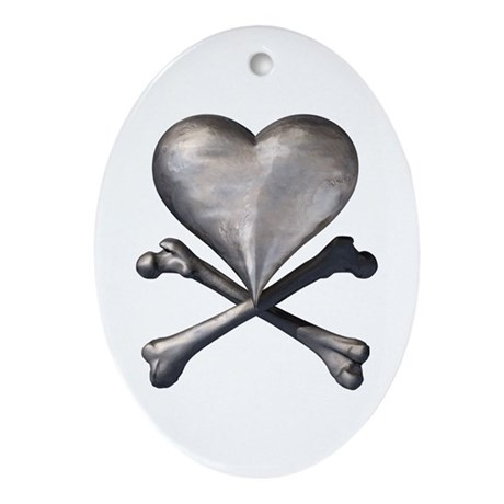 Antique Pirate Heart Oval Ornament