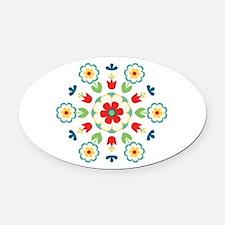 Scandinavian Swedish Floral Flowers Mandala Oval C