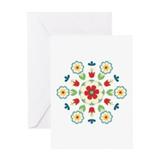 Scandinavian Swedish Floral Flowers Mandala Greeti
