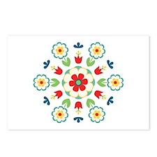 Scandinavian Swedish Floral Flowers Mandala Postca