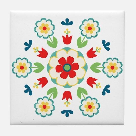 Scandinavian Swedish Floral Flowers Mandala Tile C