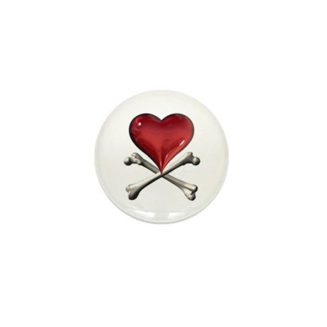 Red Pirate Heart Mini Button (10 pack)