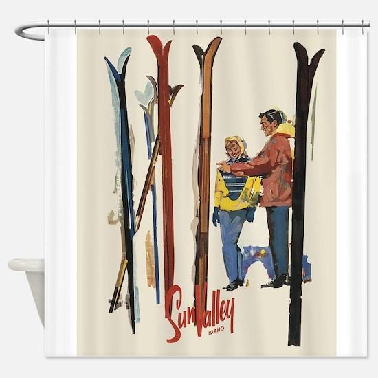 Sun Valley Idaho, Vintage Skiing Shower Curtain