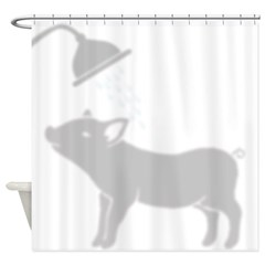 Adorable Piggy in Shower Shower Curtain