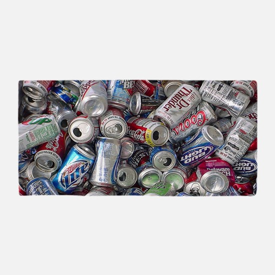 Empty Beer and Soda Cans Beach Towel