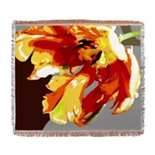 Gold and Red Abstract Silk Screen Parrot Tulip Wov