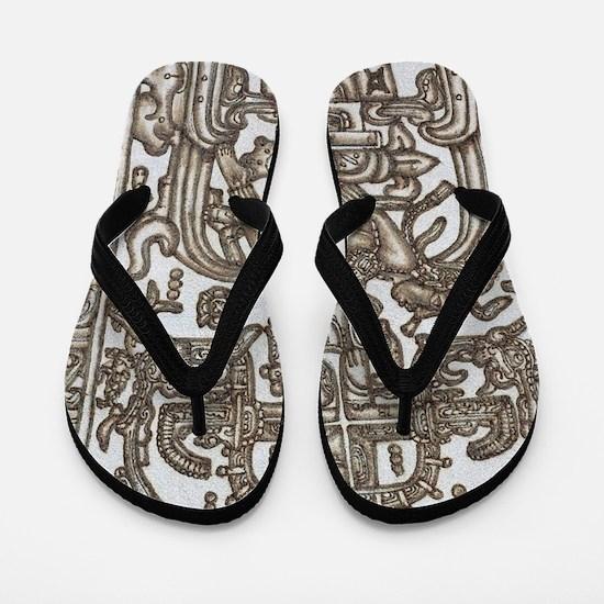 Mayan Ruler Pakal Kim  Flip Flops