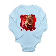 shar pei hearts Long Sleeve Infant Bodysuit