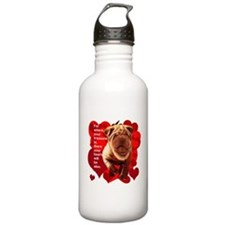 shar pei hearts Water Bottle