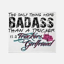 Badass Trucker's Girlfriend Throw Blanket
