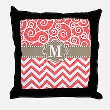 Coral Tan Swirl Chevron Monogram Throw Pillow