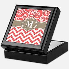 Coral Tan Swirl Chevron Monogram Keepsake Box