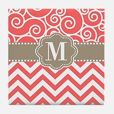 Coral Tan Swirl Chevron Monogram Tile Coaster