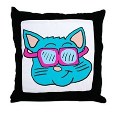 80s sunglasses Cat Throw Pillow