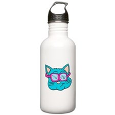 80s sunglasses Cat Water Bottle