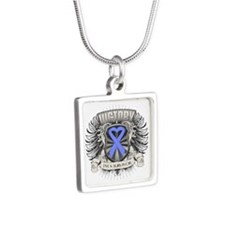 Stomach Cancer Victory Silver Square Necklace