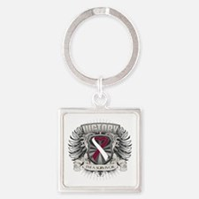Throat Cancer Victory Square Keychain