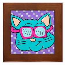 80s sunglasses Cat Framed Tile