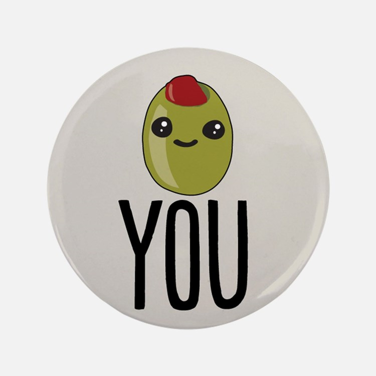 "Olive You 3.5"" Button (100 pack)"