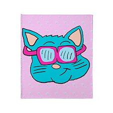80s sunglasses Cat Throw Blanket