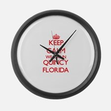 Keep calm we live in Quincy Flori Large Wall Clock