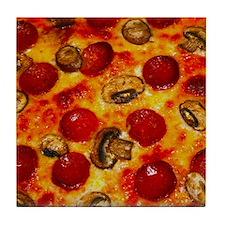 Pepperoni and Mushroom Pizza Tile Coaster