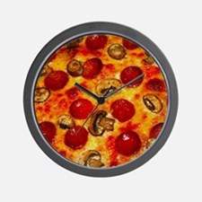 Pepperoni and Mushroom Pizza Wall Clock