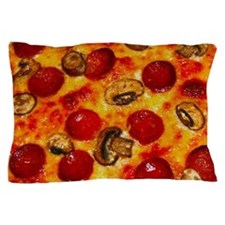 Pepperoni and Mushroom Pizza Pillow Case