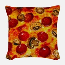 Pepperoni and Mushroom Pizza Woven Throw Pillow