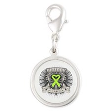 Non-Hodgkins Lymphoma Victory Silver Round Charm