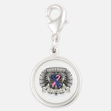 Male Breast Cancer Victory Silver Round Charm