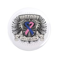 """Male Breast Cancer Victory 3.5"""" Button (100 pack)"""