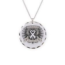 Lung Cancer Victory Necklace Circle Charm