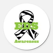 EDS Awareness Zebra Ribbon Round Car Magnet