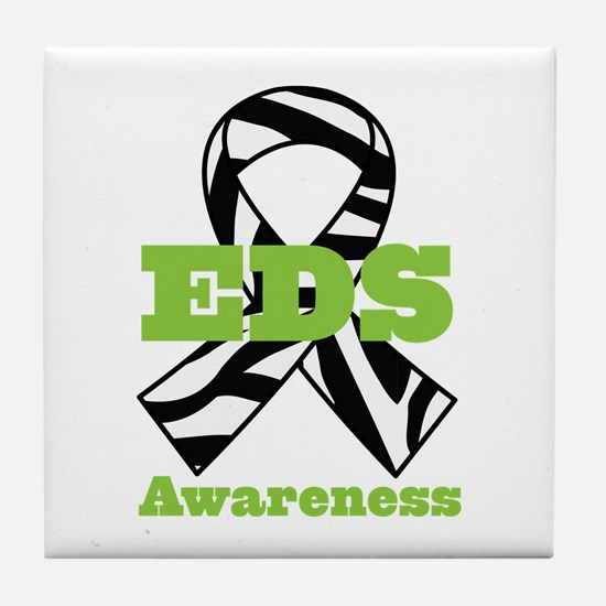 EDS Awareness Zebra Ribbon Tile Coaster