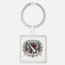 Head Neck Cancer Victory Square Keychain
