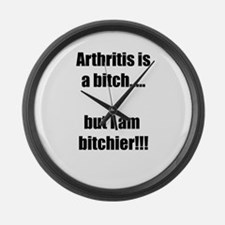 Arthritis is a bitch..but I am bi Large Wall Clock