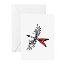 WINGED GUITAR Greeting Cards