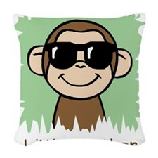 Little Brother Monkey Woven Throw Pillow