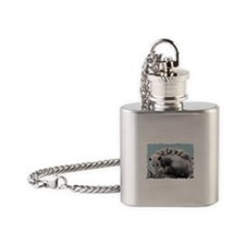 Possom Family on a Log Flask Necklace