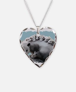 Possom Family on a Log Necklace Heart Charm
