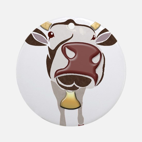 In Your Face Cow Ornament (Round)