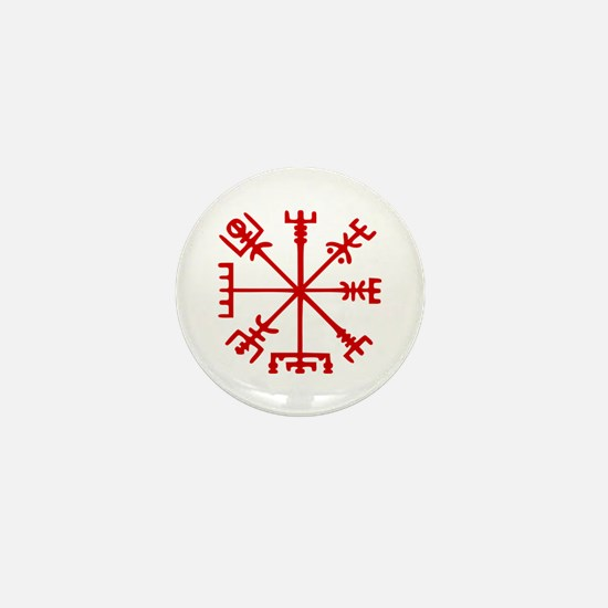Blood Red Viking Compass : Vegvisir Mini Button