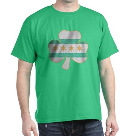 Irish Chicago flag shamrock Dark T-Shirt